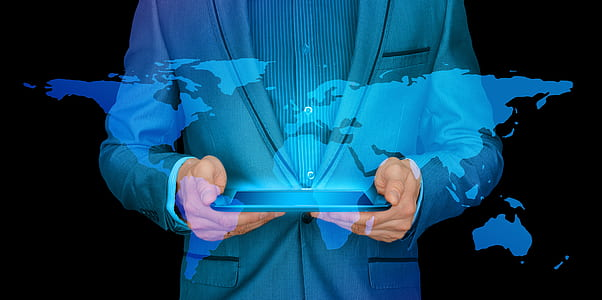 businessman, internet, continents, tablet, world, worldwide