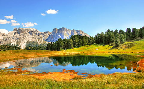 landscape photography of lake surrounded by mountains and plants