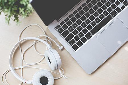 MacBook, Headphones and Flower