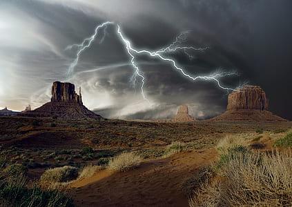 Monument Valley, Utah lightning digital wallpaper