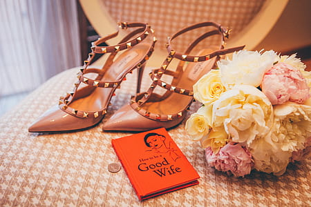 pair of studded pointed-toe heeled sandals