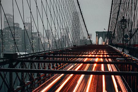 Car traffic on the Brooklyn Bridge in New York City