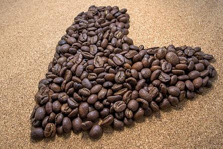 Brown Coffee Bean in Heart Shaped