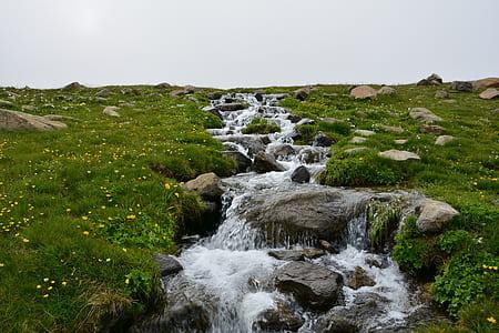 stream between grass covered land