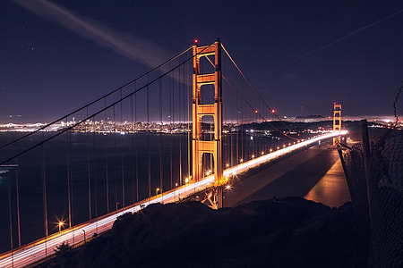 Night shot of the Golden Gate Bridge in San Francisco