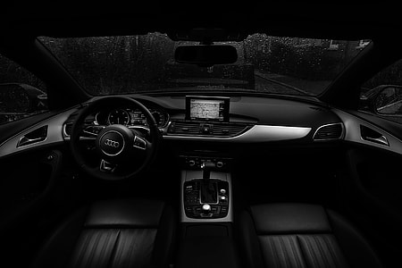 Interior of black car