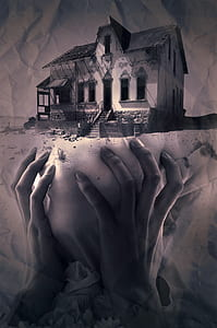 person's hand under house illustration