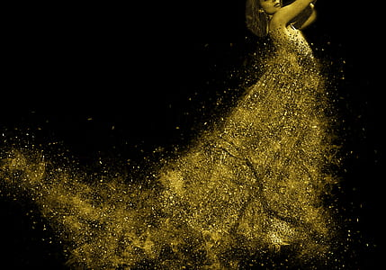 woman wearing gold glittering dress photo manipulation