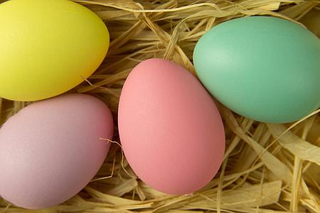 Overhead shot of Easter eggs