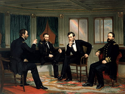Lincoln and gentlemen having a conversation painting