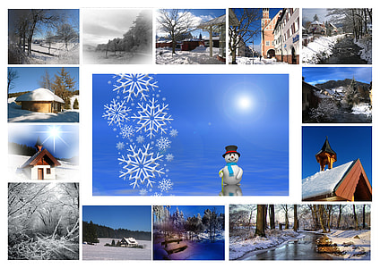 winter season photo collage