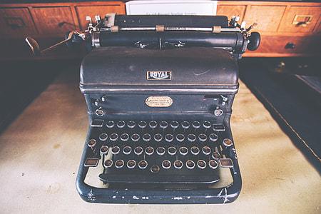 Retro typewriter on a desk