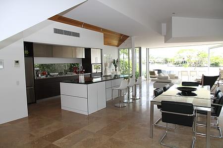 white wooden kitchen isle