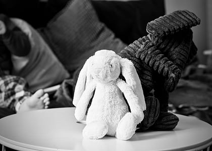 grayscale photography of rabbit plush toy on wooden top table