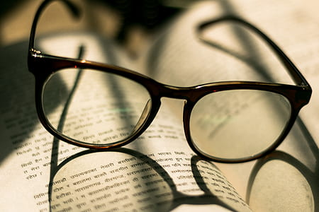 glasses, reading, book, sunlight, warm light