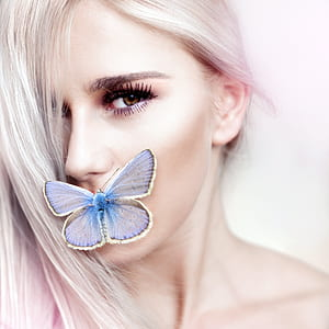 common blue butterfly and woman