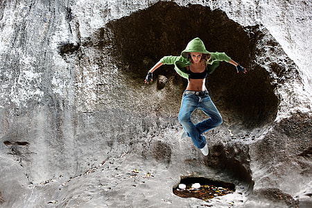 photo of woman jumping