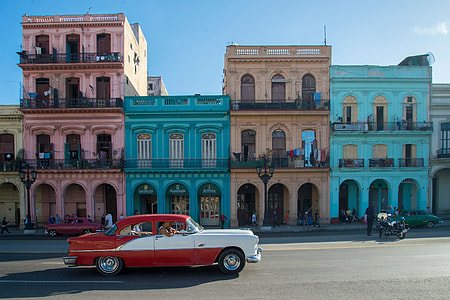 Classic American car on the streets of Havana in Cuba