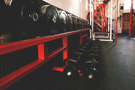 Sports exercise gym for workout with weights