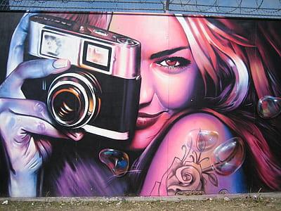 woman holding camera illustration