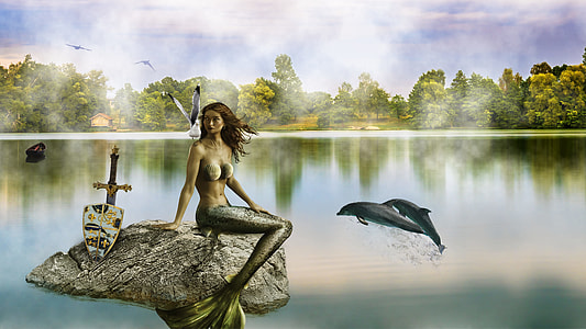 mermaid and dolphin painting