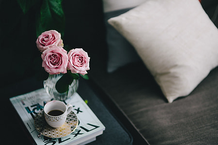 Lovely roseses, book and coffee