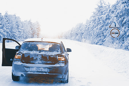 BWM car in very wintery conditions in Russia