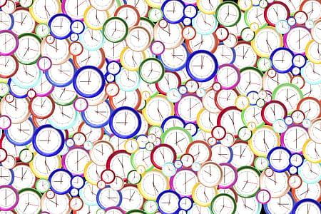 multicolored clocks graphic