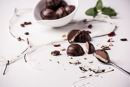 sliced chocolate on table