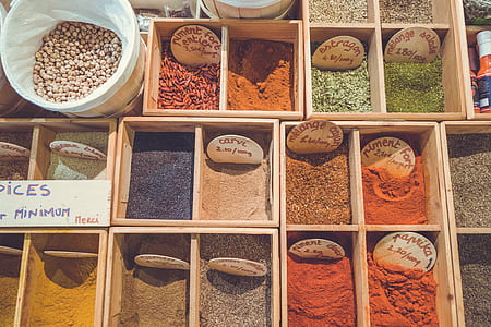 photo of assorted-color powders spices
