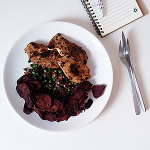 Chicken breast steaks with beetroot
