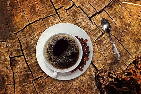 black coffee in white ceramic cup