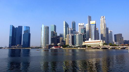buildings near body of water under clear sky