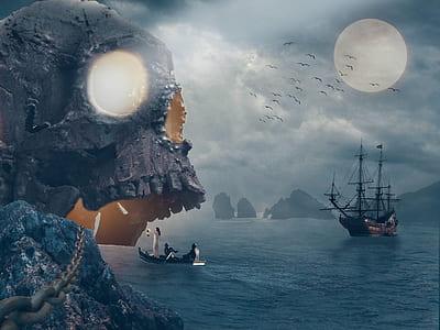 pirate ship near skull island during full moon digital wallpaper