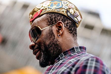man, male, beard, sunglasses, earring, hat