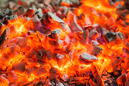 Red Burning Live Coals Campfire