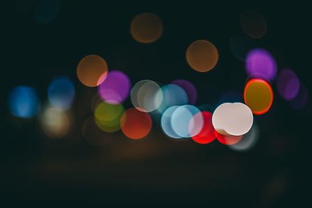 bokeh, lights, night, dark, round