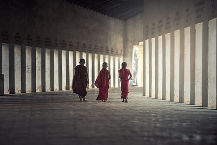 three Buddist monks walking beside each other