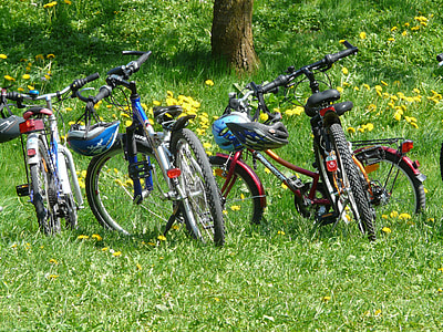 bicycles at grass field