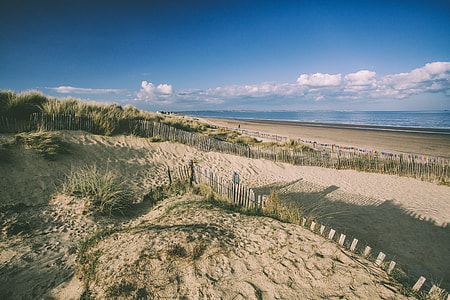Sand dunes and beach on the coast of Kent in England
