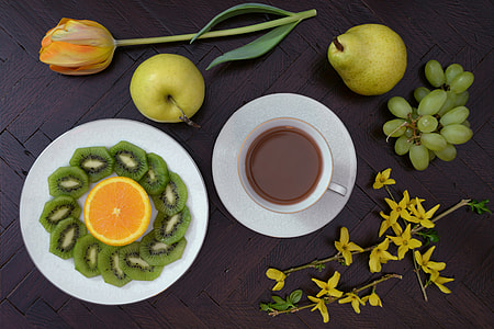 Overhead shot of coffee and fruit