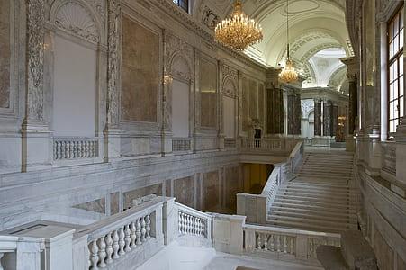 empty white concrete palace interior