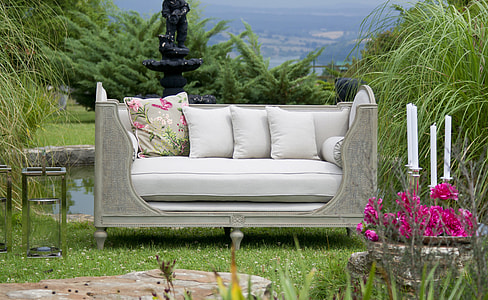 white and gray couch