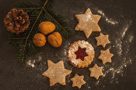 Overhead shot of tasty Christmas Cookies