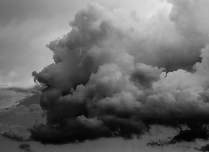 grayscale photo of clouds formation
