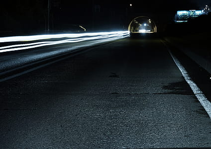 Gray Concrete Road during Night Time