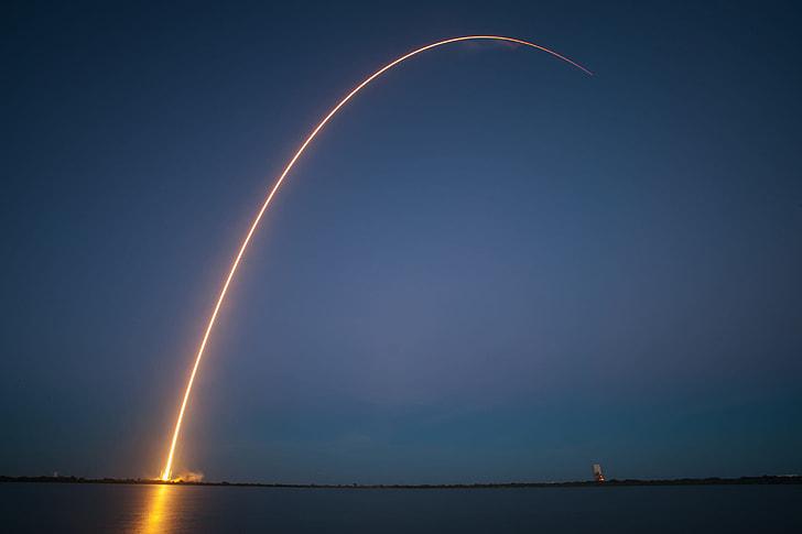timelapse photography of rocket launching