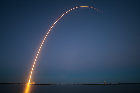 timelapse photography of rocket launching