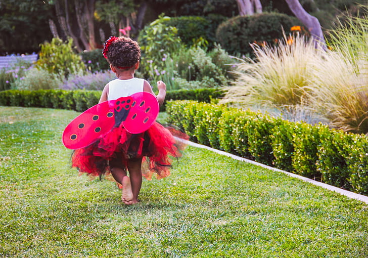 girl wearing white and pink butterfly costume near green leaved plant