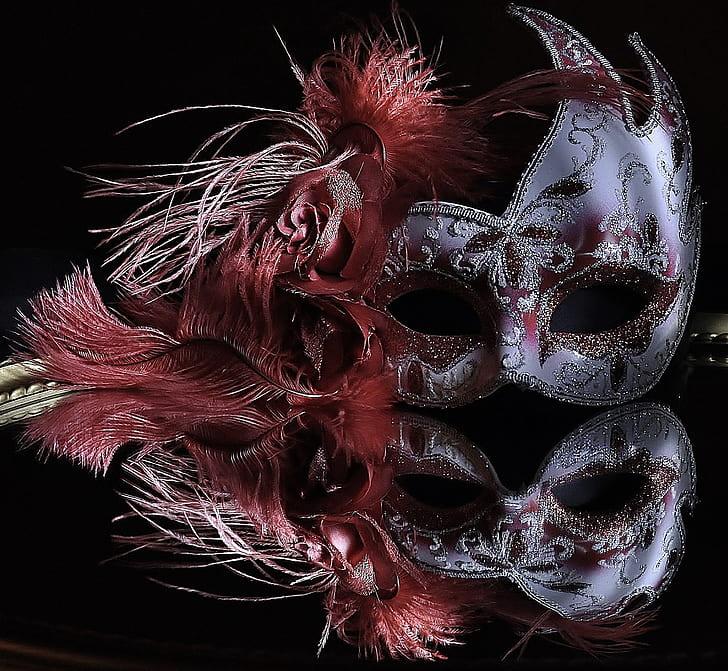 grey and red masquerades
